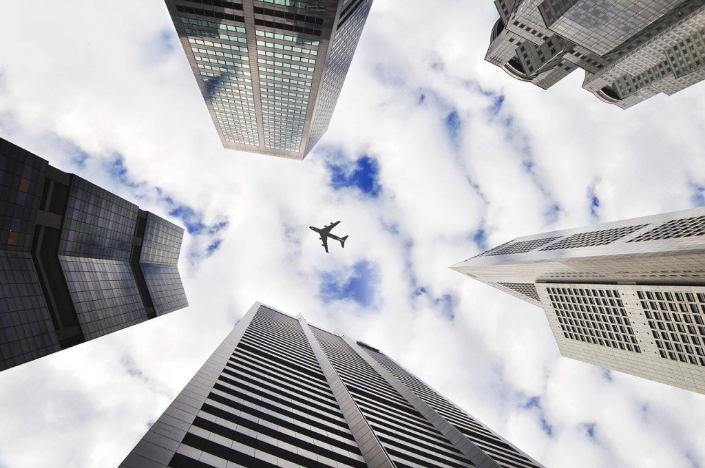 airplane, sky, buildings-690254.jpg