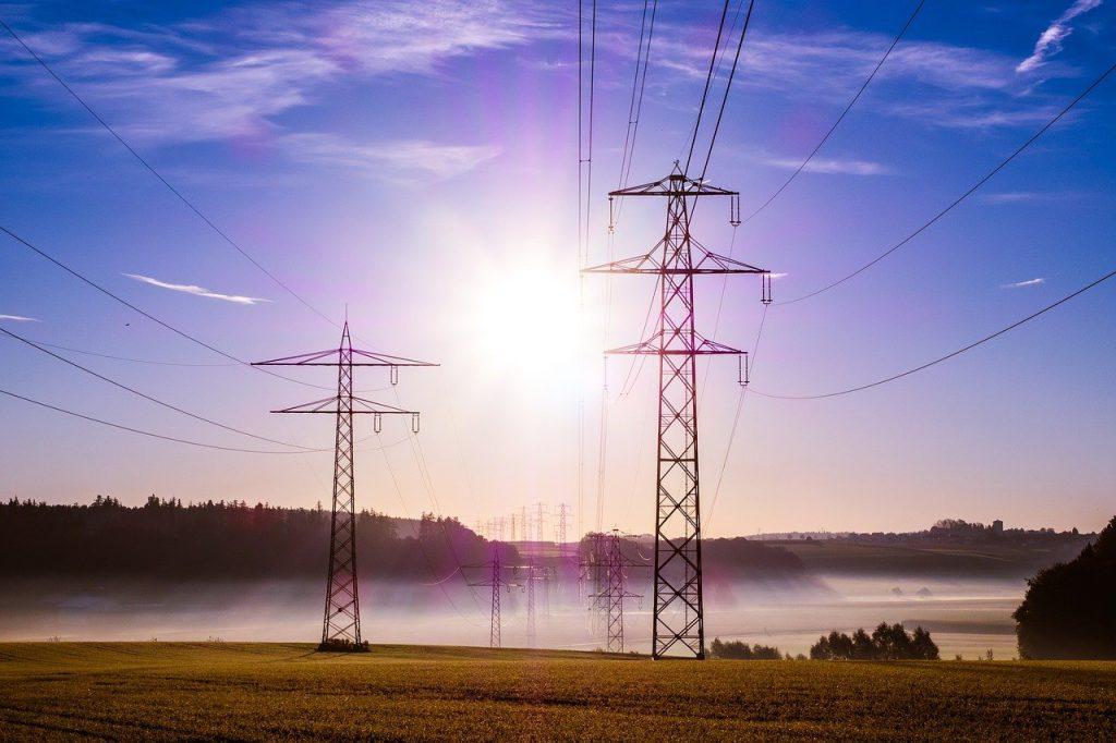 pylon, cables, sunrise